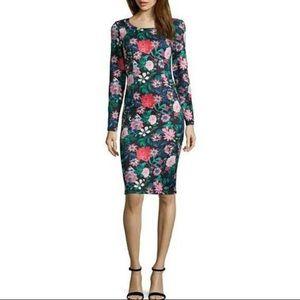 Project Runway floral long sleeve midi dress M